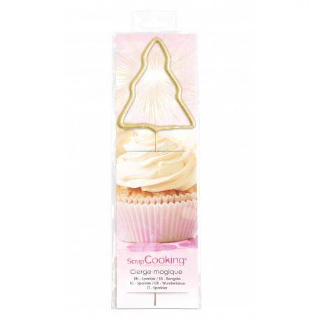 UN CIERGE MAGIQUE SAPIN - Vendu à l'unité ce joli sapin doré vous permettra de donner un peu de magie sur vos pâtisseries de Noël. À...