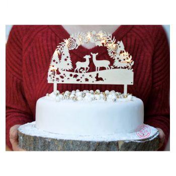 Cake topper en bois lumineux Forêt enchantée Scrapcooking