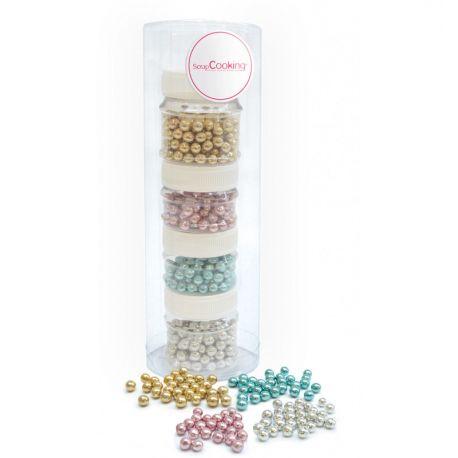 EMBELLISSEZ VOS PÂTISSERIES - Un set composé de 4 pots de perles en sucre nacrées pour apporter une touche d'élégance, de...