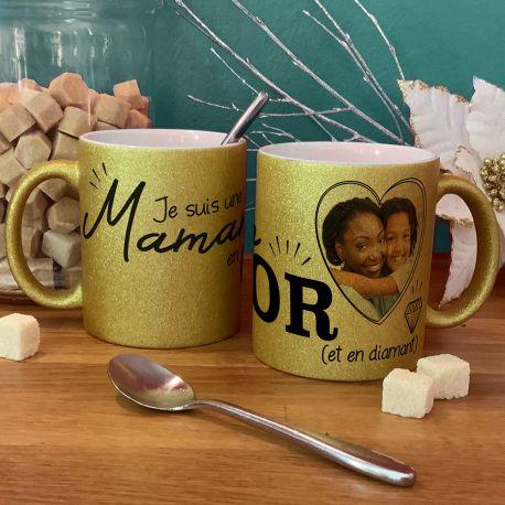 Magnifique mug à paillette en céramique à personnaliser avec vos photos et illustrations personnelles . Matériel : céramique. Contenance...