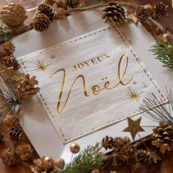 20 serviettes Joyeux Noël couture blanc