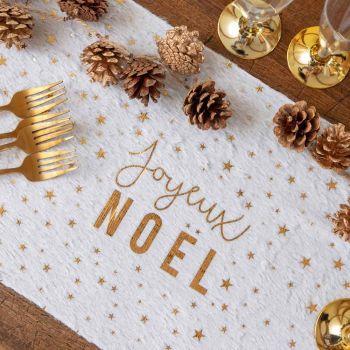 Chemin de table fourrure Joyeux Noël blanc et or