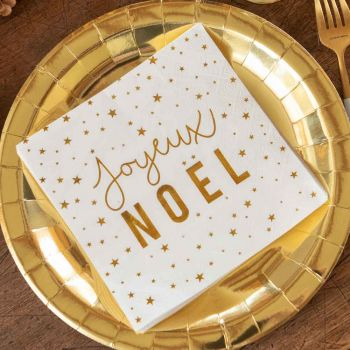 20 serviettes Joyeux Noël blanc et or