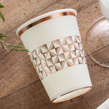 10 gobelets art déco blanc et gold rose