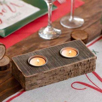 Porte bougies bois écorce