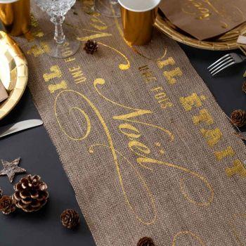 Chemin de table jute Il était une fois Noël or