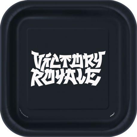 8 assiettes carrée en carton Victory Royale pour une belle décoration d'anniversaire sur le thème Fortnite Dimensions : 23 x 23cm