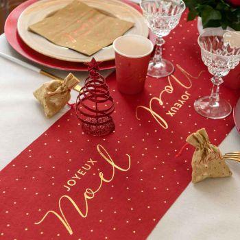 Chemin de table rouge Joyeux Noël pois or