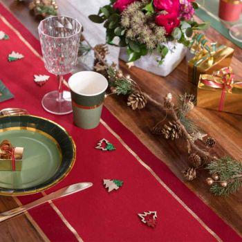 Chemin de table Noël chic rouge