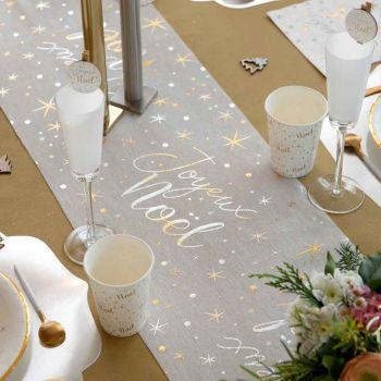 Chemin de table Joyeux Noël étoilé blanc