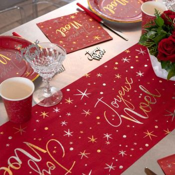 Chemin de table Joyeux Noël étoilé rouge