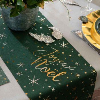 Chemin de table Joyeux Noël étoilé verte