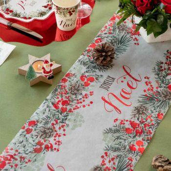 Chemin de table Guirlande de Noël rouge et vert
