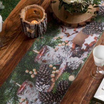 Chemin de table Bougie de Noël