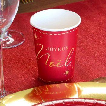 8 gobelets Joyeux Noël couture rouge