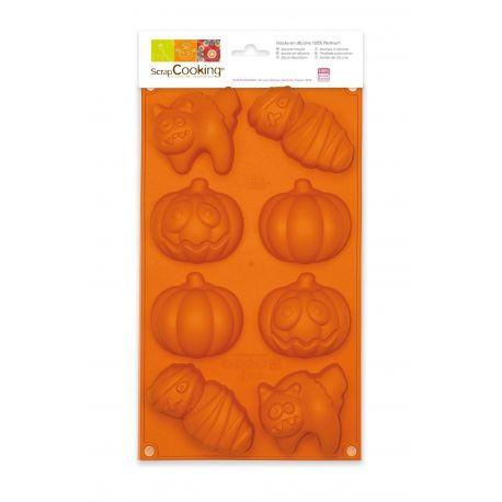 Ce moule à gâteaux en silicone vous permettra de confectionner 6 petits gâteaux sur un thème HalloweenScrapCooking® a...