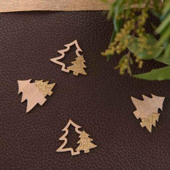 Confettis sapins en bois et paillettes or