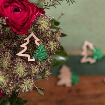 Confettis sapins en bois et paillettes vert