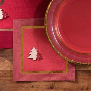 20 Serviettes Noël chic rouge or