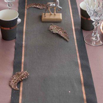Chemin de table Noël chic noir gold rose