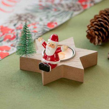 Bougeoir étoile bois Père Noël