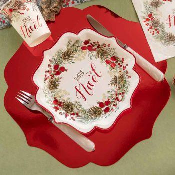 6 Set de table métallisés rouge