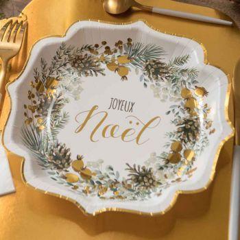 10 Assiettes Guirlande de Noël vert et or