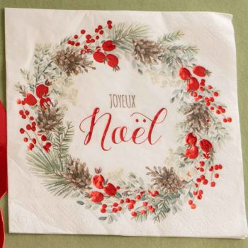 20 serviettes Guirlande de Noël rouge et vert