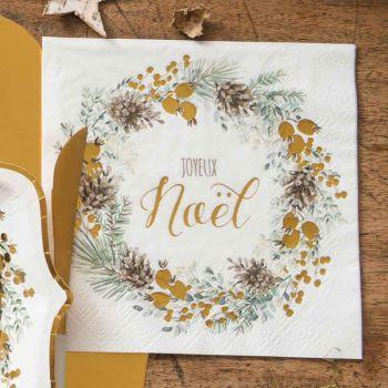 20 serviettes Guirlande de Noël vert et or