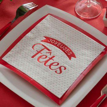 20 serviettes Joyeuses Fêtes pois rouge blanc