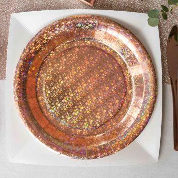 10 Assiettes Etincelant gold rose