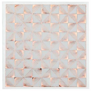 20 Serviettes art déco blanc et gold rose