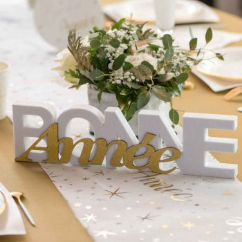 Lettre Bonne année blanc et or