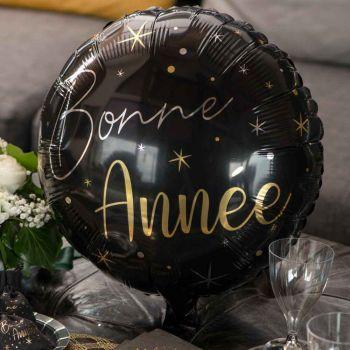 Ballon alu Bonne année noir or
