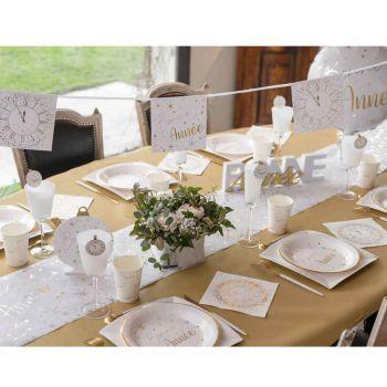 Guirlande fanions Bonne année blanc or