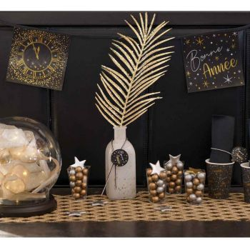 Guirlande fanions Bonne année noir or