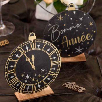 Décor à poser horloge Bonne année noir et or