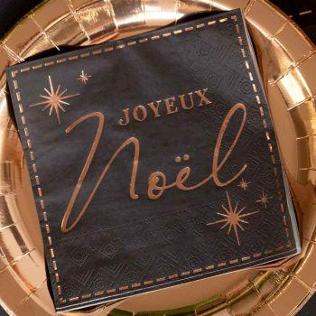 20 serviettes Joyeux Noël couture noir gold rose