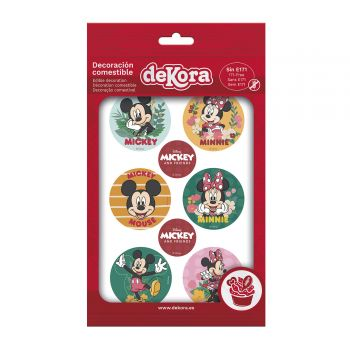 6 Mini diisques azyme Mickey Noël 5cm
