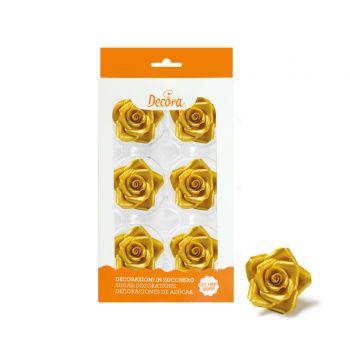 6 roses en sucre or