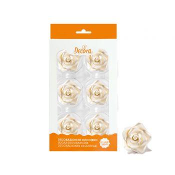 6 roses en sucre perle