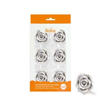 6 roses en sucre argent