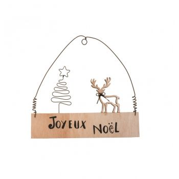 Pancarte Joyeux Noël en bois décor cerf