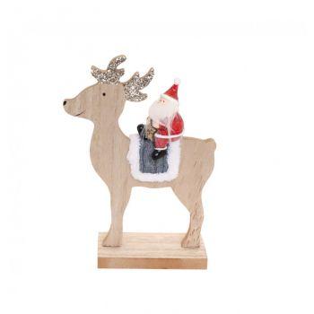 Père Noël sur renne en bois