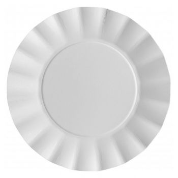 8 grandes assiettes corolle blanches compostable 24.5cm