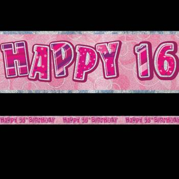 Banderole Happy Birthday 16 ans Pink