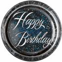 Happy Birthday glitz black blue