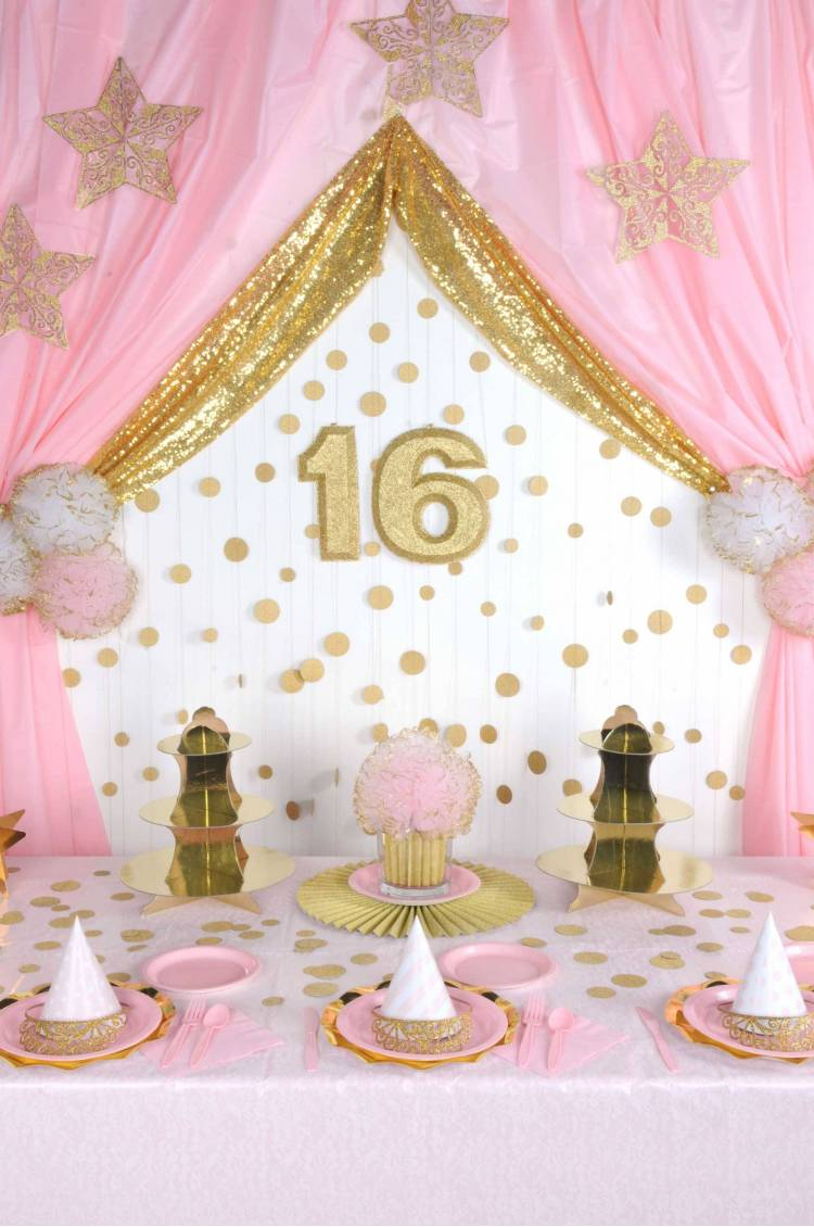 Table d'anniversaire rose Gold